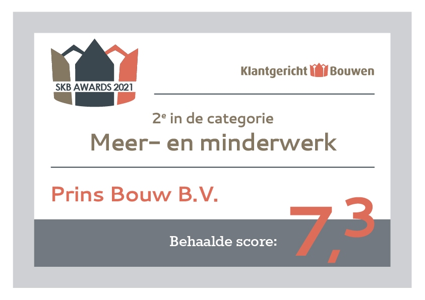 Meer- en minderwerk Award 2 2021 Prins Bouw BV 7,3